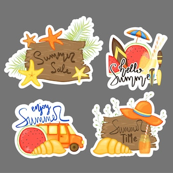 Zomer grappige stickers.