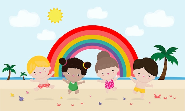 Zomer groep kinderen springen op het strand zomertijd ontspannende kinderen aan de kust platte cartoon