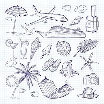 Zomer hand getrokken elementen. zon, paraplu, rugzak en andere symbolen van grappige vakanties.