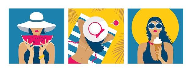 Zomer heldere kaarten set: een meisje in een hoed op vakantie aan zee