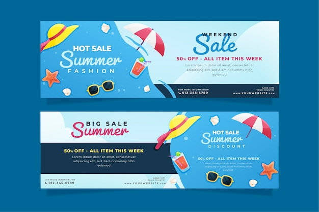 Zomer horizontale banners sjabloon