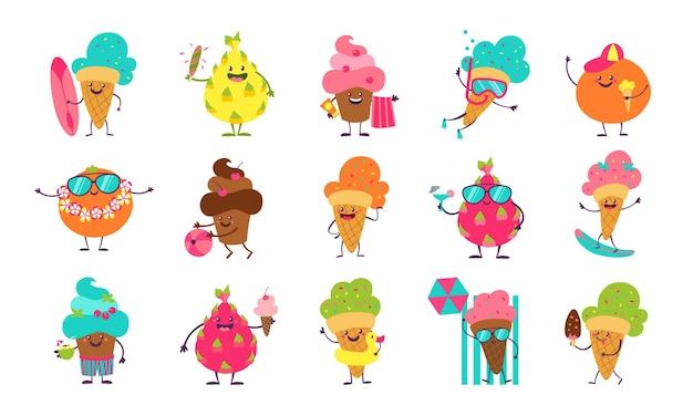 Zomer ijs stickers. grappige doodle desserts en fruit met schattige gezichten die zomeractiviteiten doen.