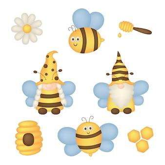 Zomer instellen met bijenkabouter geïsoleerd op witte achtergrond