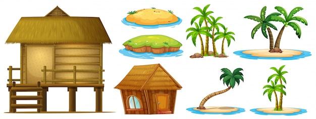 Zomer instellen verschillende vormen van eiland en hut