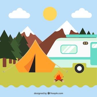 Zomer kamp achtergrond met caravan