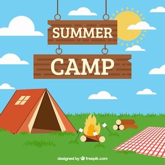 Zomer kamp achtergrond met kampvuur en marshmallows