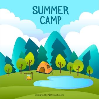 Zomer kamp achtergrond met tent en natuur