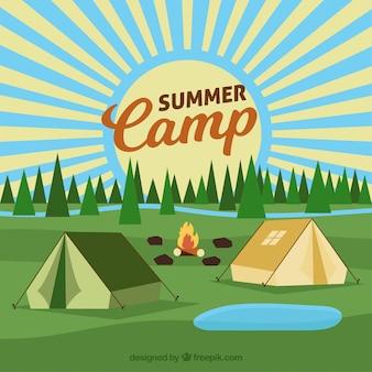 Zomer kamp achtergrond met tenten en kampvuur