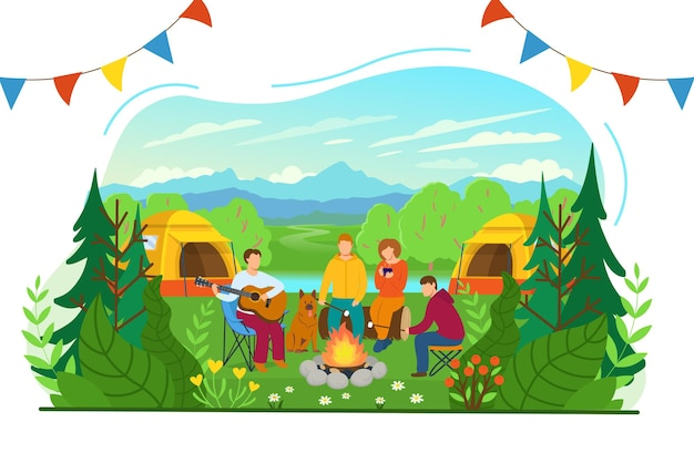 Zomer kamperen. boslandschap met toeristen rond het kampvuur. toeristen spelen gitaar, drinken hete thee en roosteren marshmallows. platte vectorillustratie in cartoon stijl.
