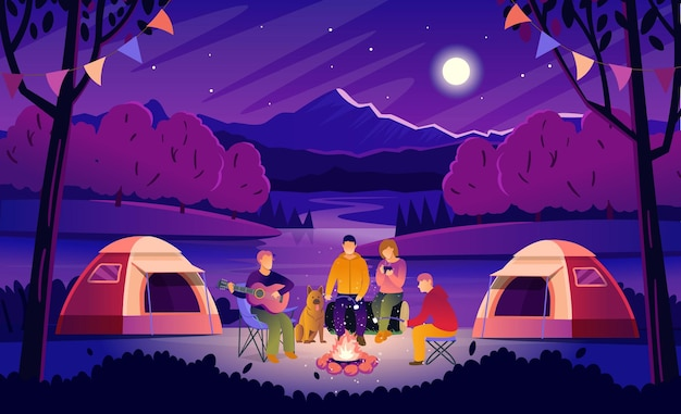Zomer kamperen 's nachts. boslandschap met toeristen rond het kampvuur. toeristen spelen gitaar, drinken hete thee en roosteren marshmallows. platte vectorillustratie in cartoon stijl.