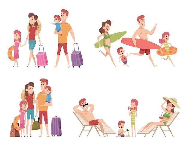 Zomer karakters. familie paar reizigers met kinderen gaan op vakantie op strand zee of oceaan tropische natuur tekenfilm verzameling