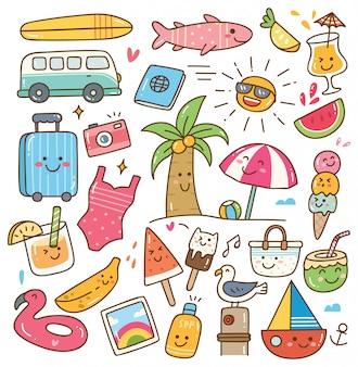 Zomer kawaii doodle set