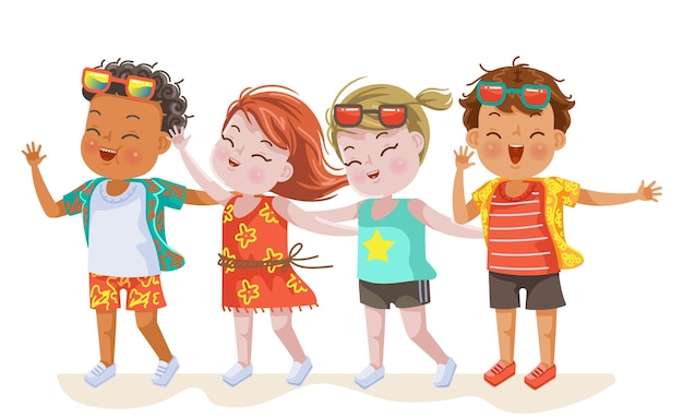 Zomer kids fashion meisjes en jongens vriend aan de kust in vakantie