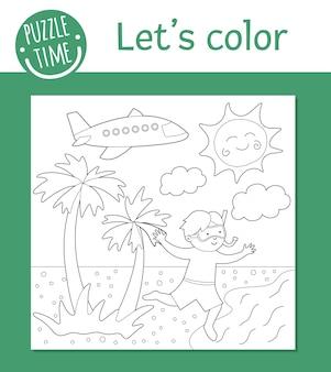 Zomer kleurplaat voor kinderen. leuke grappige jongen loopt naar de zee. strandvakanties overzicht. zeevakantie kleurboek voor kinderen