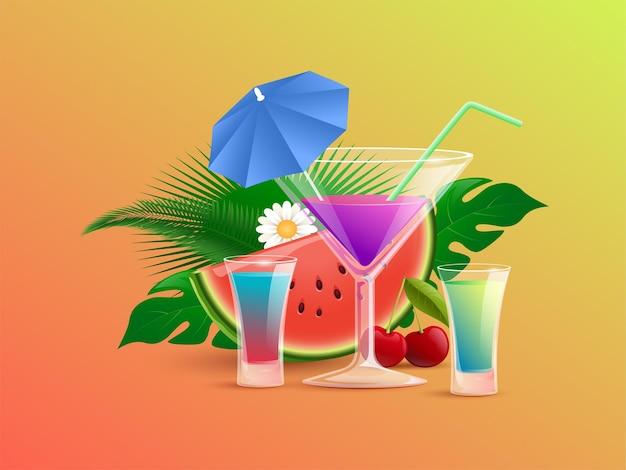 Zomer kleurrijke cocktails met stro en cocktailparasols vector cartoon