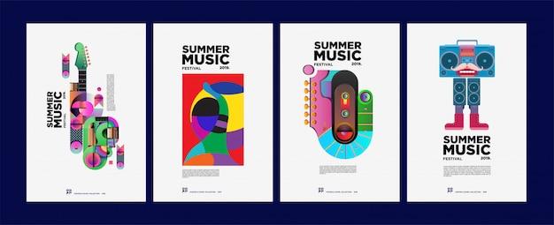 Zomer kleurrijke kunst en muziekfestival poster en dekking
