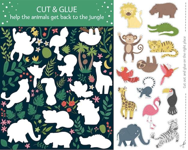 Zomer knip- en lijmactiviteit voor kinderen. tropisch educatief knutselspel met schattige dierenfiguren. help de dieren terug te keren naar de jungle.
