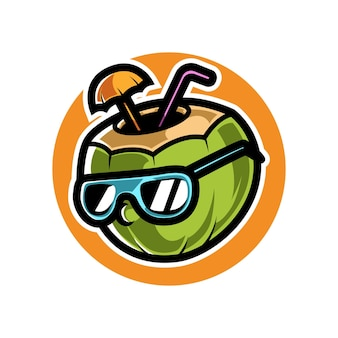 Zomer kokosnoot mascot sport logo