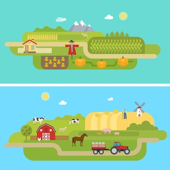 Zomer landbouwlandschappen
