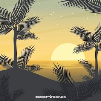 Zomer landschap achtergrond in platte ontwerp