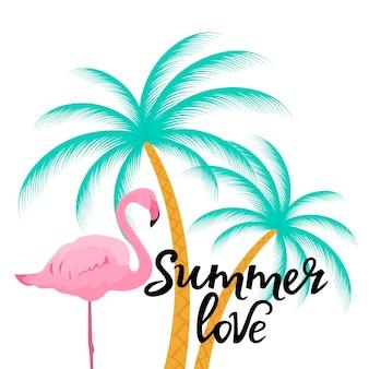 Zomer liefde handgetekende letters met flamingo en palmboom.