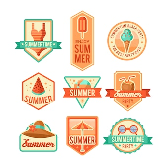 Zomer logo illustratie. zomertijd, geniet van uw vakantie.