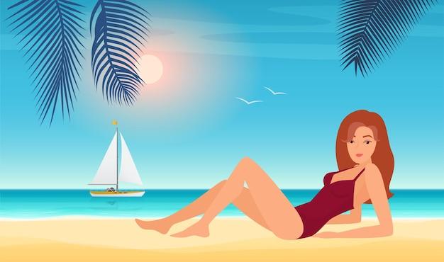 Zomer meisje in bikini mooie jonge vrouw in zwembroek zonnebaden op tropisch strand