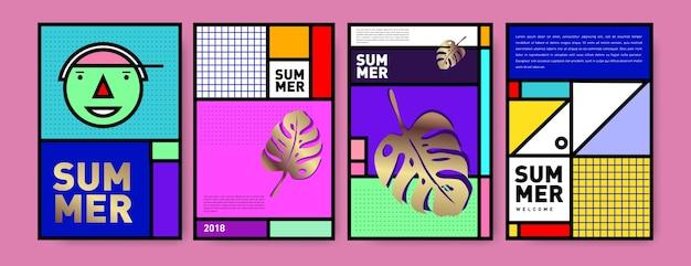 Zomer memphis minimalistische poster set