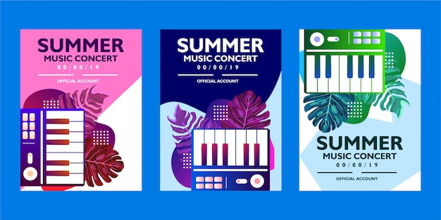 Zomer muziek concert poster sjabloon collectie met tropische bladeren en piano vormen
