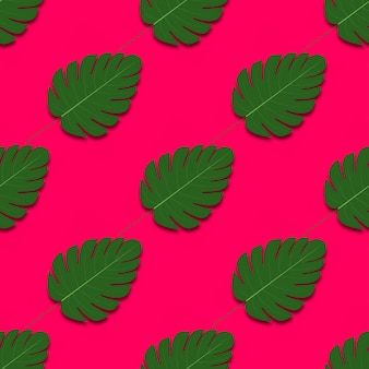 Zomer naadloos patroon met palmbladeren.