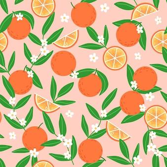 Zomer naadloos patroon van sinaasappelen met groene bladeren en witte bloemen op een beige achtergrond
