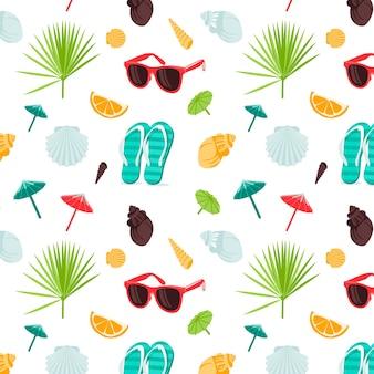 Zomer naadloos schattig kleurrijk patroon met slippers schelpen tropische bladeren zonnebril cocktai