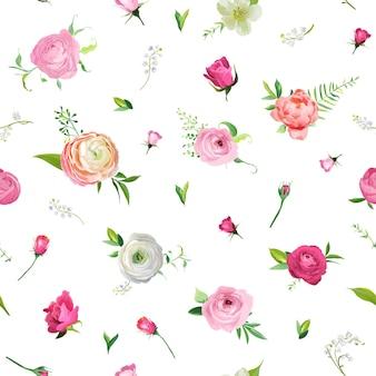 Zomer naadloze bloemmotief met roze rozen en lily valley. botanische achtergrond met bloemen voor stof textiel, behang, inpakpapier en decor. vector illustratie