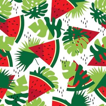 Zomer naadloze patroon met bladeren en watermeloen