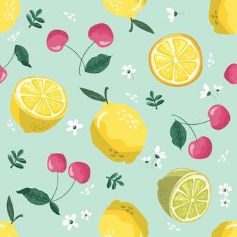 Zomer naadloze patroon met citroenen, kersen en bloesem.