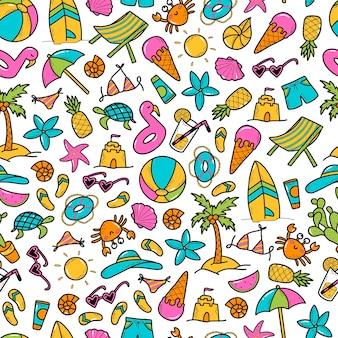 Zomer naadloze patroon met doodles