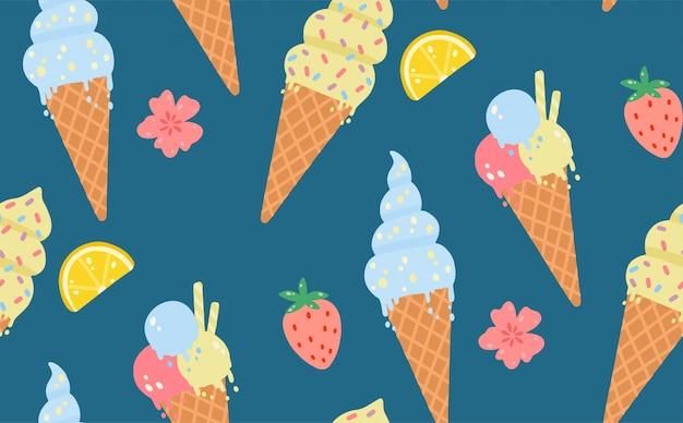 Zomer naadloze patroon met ijs, citroenen, aardbeien, bloemen.