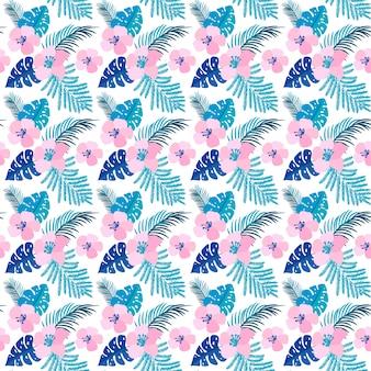 Zomer naadloze patroon met platte bloemen en tropische bladeren van monstera.
