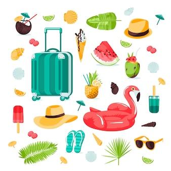 Zomer naadloze schattige kleurrijke objecten set met flamingo tropische bladeren koffer schelpen strand ha