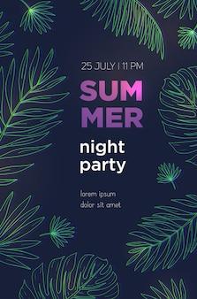 Zomer nacht partij poster sjabloon met tropische palmbladeren. evenement, festival illustratie plakkaat.