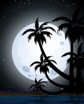Zomer nachtscène silhouet