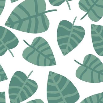 Zomer natuur hand tekenen jungle print. exotische plant. tropische patroon, palmbladeren naadloze vector floral achtergrond.