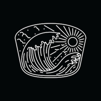 Zomer natuur strand lijn grafische illustratie kunst t-shirt
