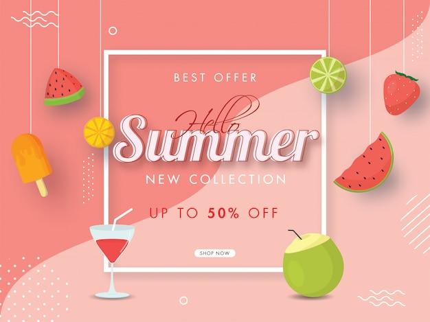 Zomer nieuwe collectie verkoop posterontwerp met 50% kortingsaanbieding, kokosdrank, cocktailglas, ijs en hangende vruchten op lichtrode achtergrond.