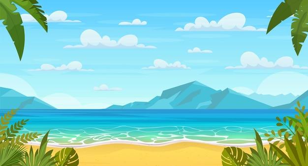 Zomer op het strand. tekenfilm palmen en planten rondom