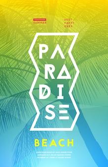 Zomer partij poster ontwerpsjabloon met palmbomen silhouetten. moderne stijl. vector illustratie