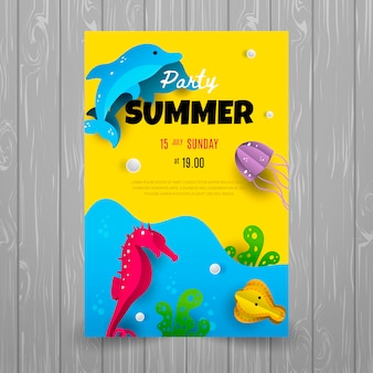 Zomer partij poster sjabloon met dolfijn, zee paard en mariene thema