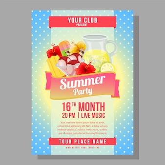 Zomer partij poster vakantie met verfrissing vectorillustratie