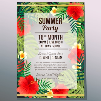 Zomer partij vakantie poster sjabloon tropisch thema vectorillustratie
