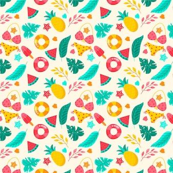 Zomer patroon met badpak en fruit